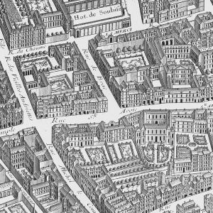 Turgot map, 1739.  Montmor's house is second from the left