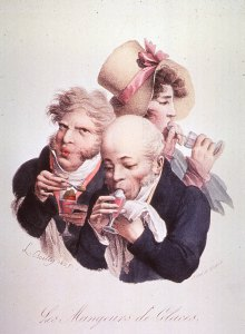 Caricature of food consumption; two men and a woman eating ice cream.